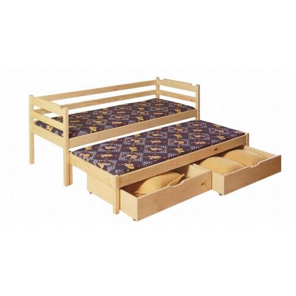 Dětská rozkládací postel s přistýlkou a úložným prostorem Martin, masiv borovice