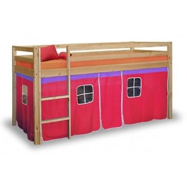 Dětská zvýšená postel IA832 s domečkem NEMI, růžová