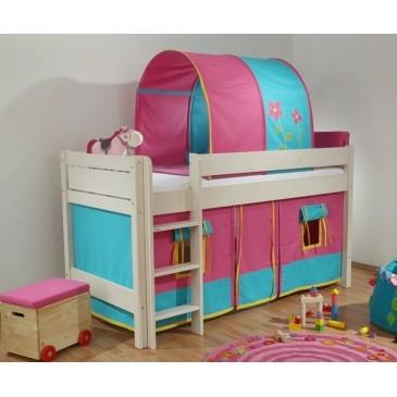 Zvýšené jednolůžko - dětská zvýšená postel Bella bílá B0385-R-F, masiv smrk