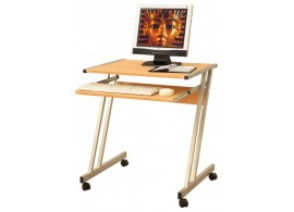 PC stůl na kolečkách v kombinaci lamina a kovu - buk IA106A