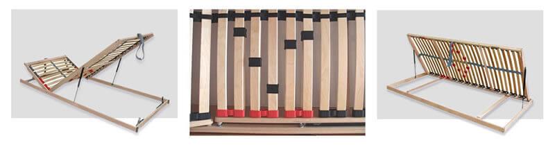 Detail rohového spoje postele s úložným prostorem Maria
