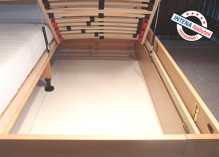 Detail úložného prostoru postele Senátor