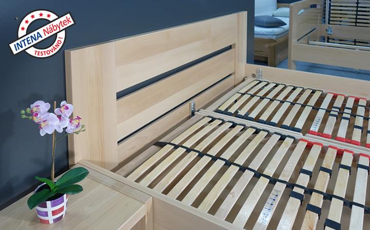 Detai čela postele s úložným prostorem Matěj